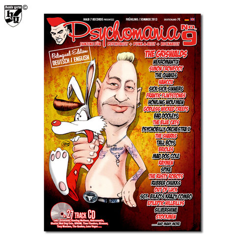 "PSYCHOMANIA # 9 - ""Fanzine für Psychobilly + Punk-A-Billy + Rock-A-Billy"" Magazin + 2x CD"