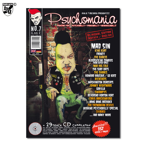 PSYCHOMANIA # 7 - Fanzine für Psychobilly + Punk-A-Billy + Rock-A-Billy Magazin + CD