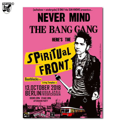 "POSTER ""SPIRITUAL FRONT + SUPPORT"" 13.10.2018 Urban Spree Berlin"