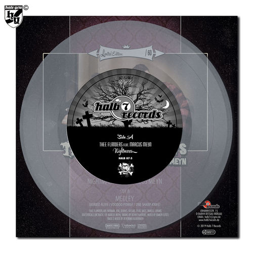 "THEE FLANDERS feat. MARCUS MEYN - ""Nightmares"" clear transparent Vinyl 7"""