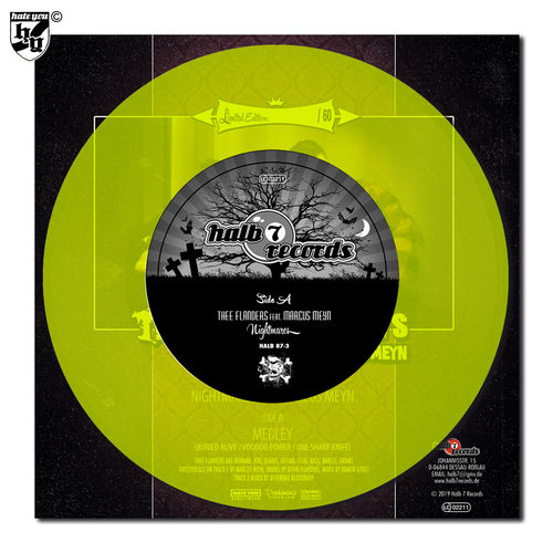 "THEE FLANDERS feat. MARCUS MEYN - ""Nightmares"" neon-yellow transparent Vinyl 7"""