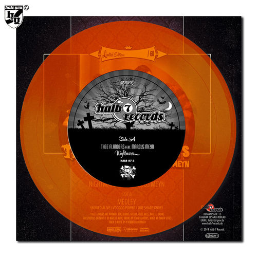 "THEE FLANDERS feat. MARCUS MEYN - ""Nightmares"" orange transparent Vinyl 7"""
