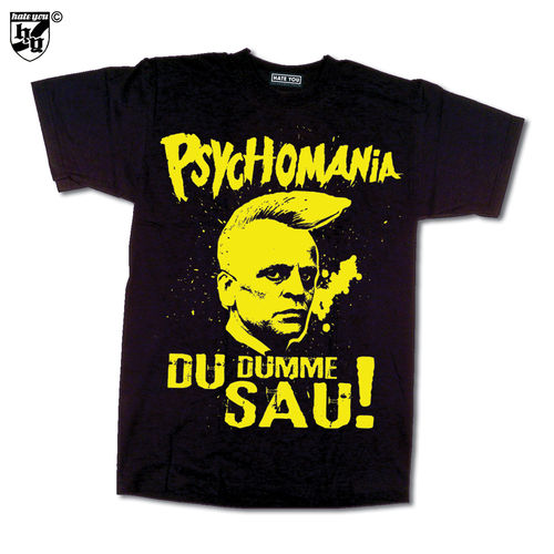 "T-SHIRT ""PSYCHOMANIA - DU DUMME SAU! vs OLD ENGLISH"" yellow print"