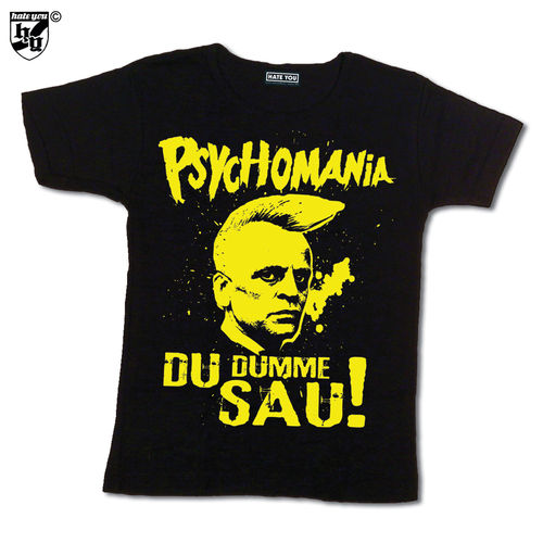 "GIRLIE ""PSYCHOMANIA - DU DUMME SAU! vs OLD ENGLISH"" yellow print"